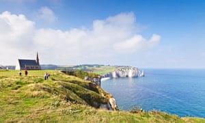 Cliff tops at Etretat, Normandy France and chapel of Notre Dame de la Garde
