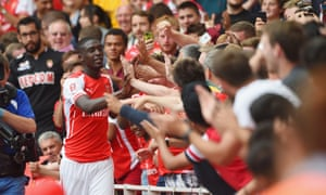 Sanogo heads for the fans after his fourth.