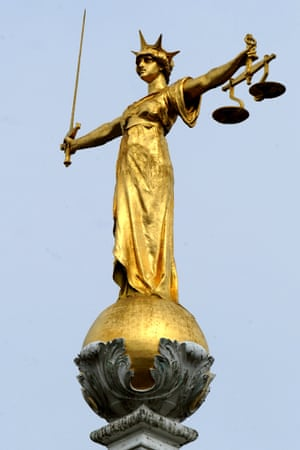 "File photo dated 16/4/2008 of the famous statue of ""Lady Justice"" by the British sculptor, Frederick William Pomeroy."