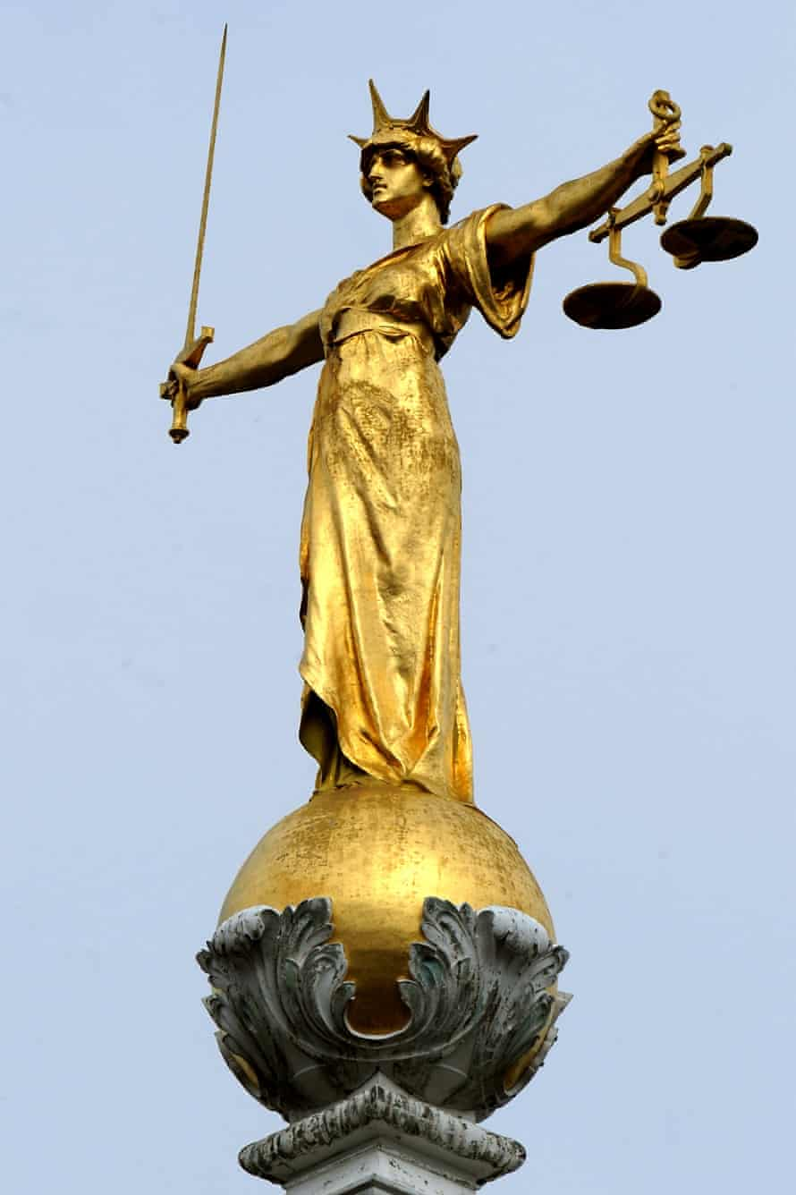 """File photo dated 16/4/2008 of the famous statue of """"Lady Justice"""" by the British sculptor, Frederick William Pomeroy."""