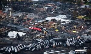 Aftermath of the oil train explosion in Lac-Megantic, Quebec.