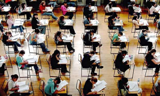 Students take A-level exams