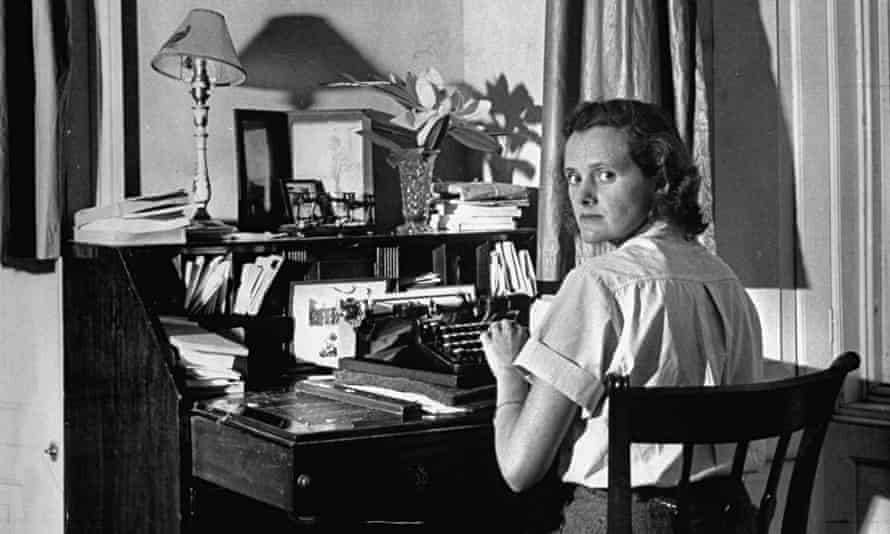 Author Daphine Du Maurier at her desk