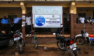 A banner mourning Dr Sheik Humarr Khan, the late top doctor in Sierra Leone's fight against Ebola