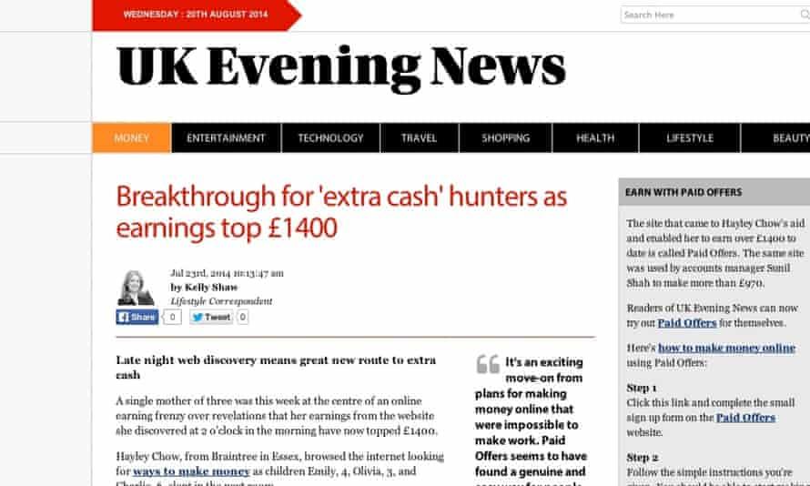 cashback UK Evening News article