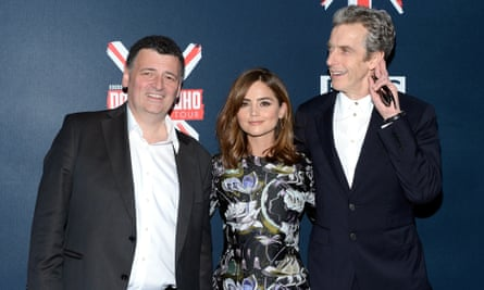 Executive producer and writer Steven Moffat, left, Jenna Coleman and Peter Capaldi. Photo by Evan Agostini/Invision/AP