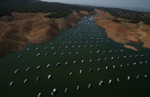 Bidwell Marina at Lake Oroville in Oroville, California which is currently at 32 percent of its total 3,537,577 acre feet
