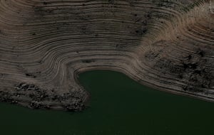 Rings are visible on the banks of Lake Oroville showing how the water has receded.
