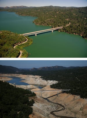 The Green Bridge over full water levels in Lake Oroville in July 2011 compared with the same almost dry section now.