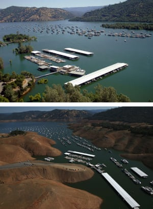 Full water levels at the Bidwell Marina at Lake Oroville in July 2011 compared with low levels now.