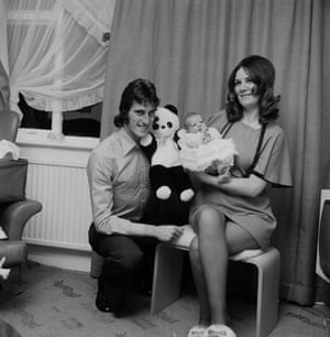 Ray Clemence of Liverpool at home with his wife Veronica and his baby daughter.