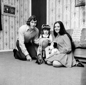 Pat Jennings of Tottenham Hotspur with his wife Eleanor and baby daughter Siobhan.
