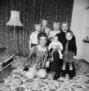 Denis Law at home with his wife Diana and their children.