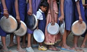school children waiting for food