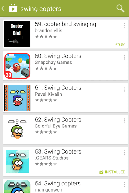 Google Play search for Swing Copters