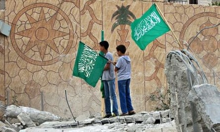 Palestinians raise Hamas flags