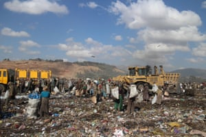 Scratchers on the Koshe rubbish dump tend to specialise in different materials: some searching for metal, while others target paper or plastic bottles.