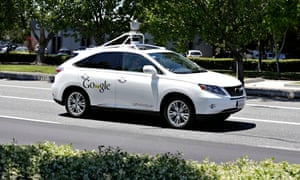 A Google self-driving car on the real streets of Mountain View, California, in May.