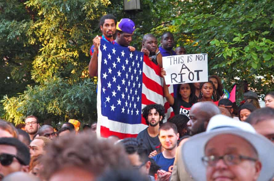 A 14 August rrally in Washington DC for Michael Brown who was shot and killed by a police officer in Ferguson, Missouri.