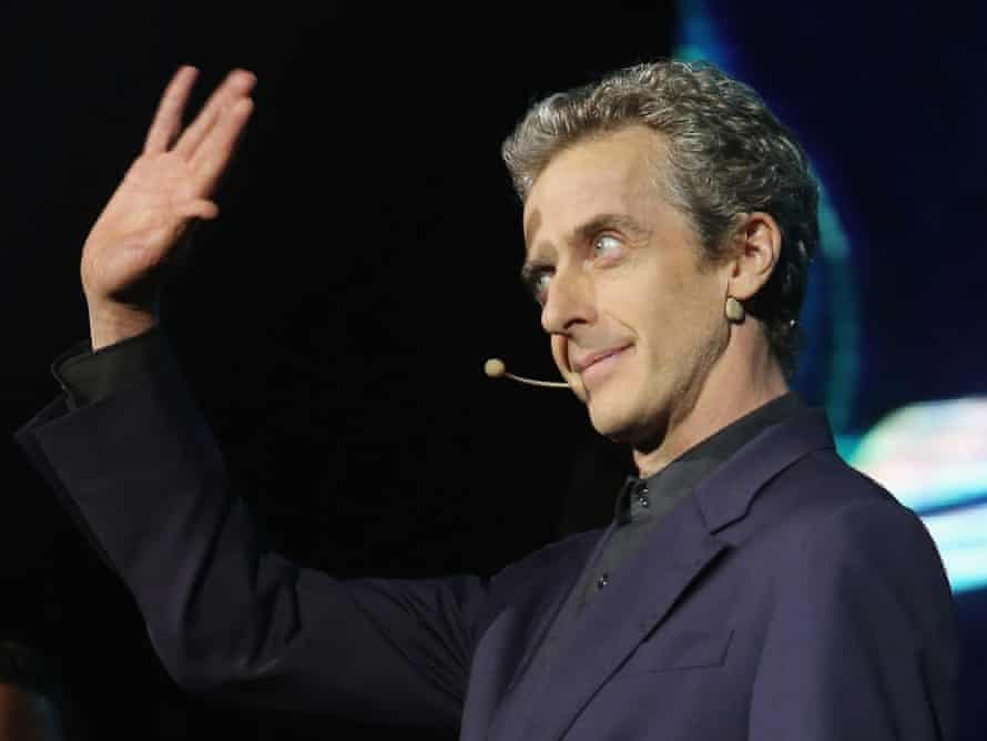 Actor Peter Capaldi speaks on stage during Doctor Who World Tour fan event at Teatro Metropolitan on 17 August 2014 in Mexico City, Mexico