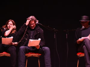 Amber Tamblyn, Kurt Russell and Samuel L. Jackson at the live read of The Hateful Eight in April 2014.