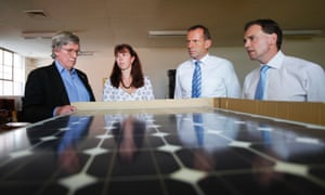 Greg Hunt and Tony Abbott visiting a solar hot water business in Canberra, while in opposition in 2012.