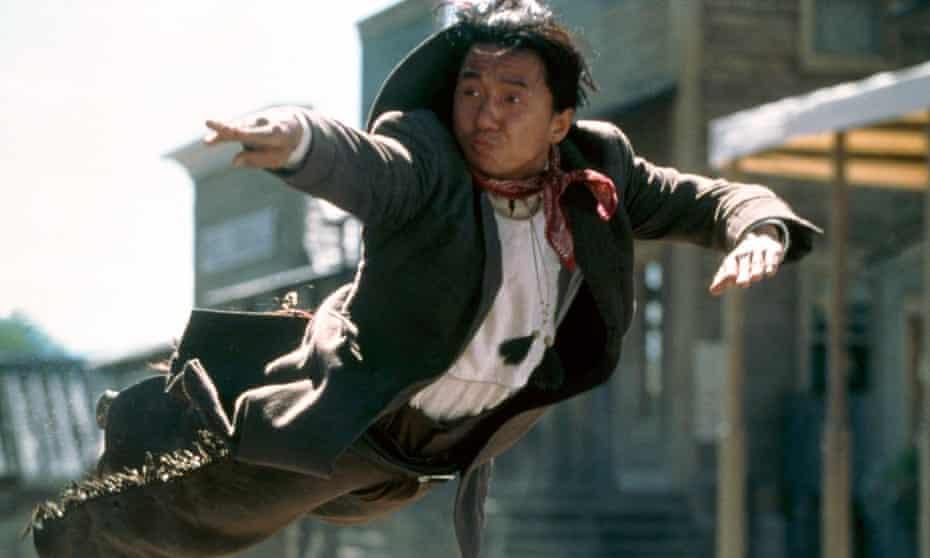 Jackie Chan in mid-air, in Shanghai Noon.