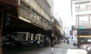 """An """"L"""" Stop above Wabash Street in the Loop"""