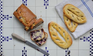 A blueberry loaf and fougasses....