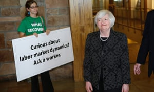 Federal Reserve Chair Janet Yellen, right, arrives for a dinner during the Jackson Hole Economic Policy Symposium at the Jackson Lake Lodge in Grand Teton National Park near Jackson, Wyo. Thursday, Aug. 21, 2014.