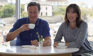 David Cameron and Samantha Cameron in Cornwall