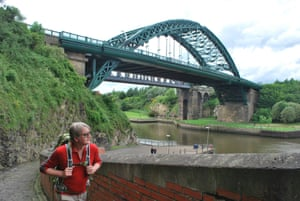 Chris crossing Wearmouth Bridge.