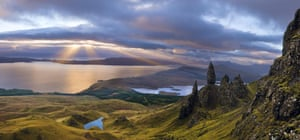 The Old Man of Storr and the sea beyond.