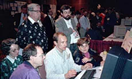 Berners-Lee demonstrates the world wide web to delegates at the Hypertext 1991 conference in San Ant
