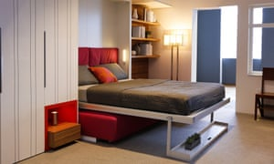 This transformable bed by Resource Furniture conserves micro-apartment space by folding out from the wall