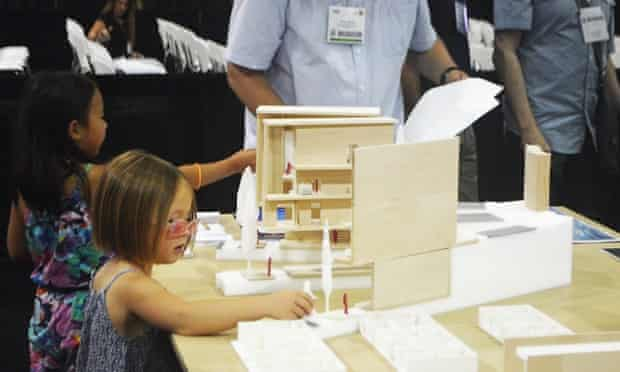 Some of the younger crowd at Dwell on Design LA found that the model created by Georgia Tech College of Architecture students was a perfect doll house.