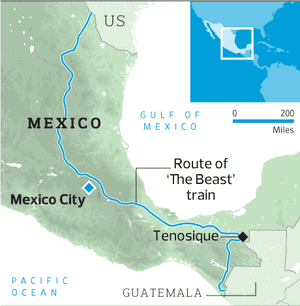 Migrants risk life and limb to reach the US on train known as the ...