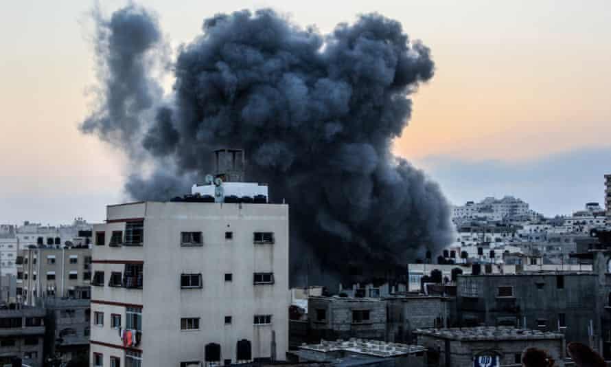 Smoke rises after an Israeli air strike in Gaza.
