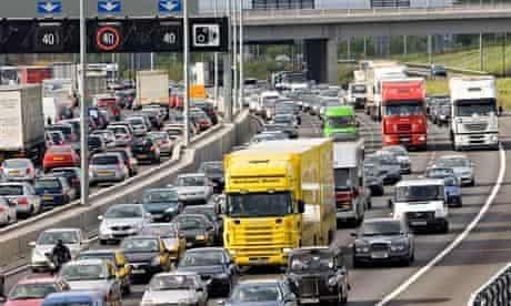 Traffic On M25 Motorway, London, UK