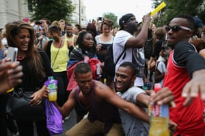 People dance during the Notting Hill Carnival.