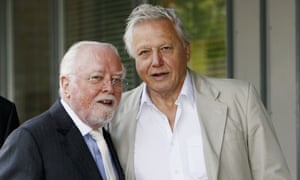 Lord Richard Attenborough and Sir David Attenborough pose outside the 'Richard Attenborough' Building at the University of Leicester.