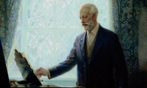 Portrait of Tchaikovsky Peter Ilich Tchaikovsky (1840-1893) standing by a piano looking at a score.