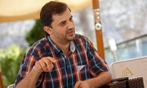 Ashraf Mashharawi speaks at the Sarajevo film festival on 22 August 2014.