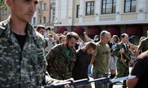Captured Ukrainian soldiers In Donetsk