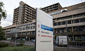 A sign is displayed outside of the Royal Free Hospital in north London