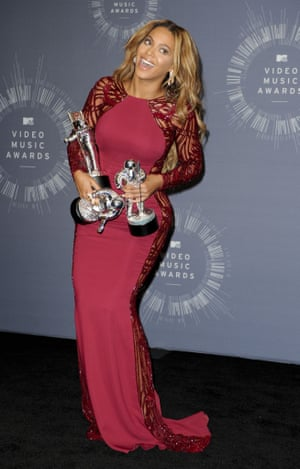 Beyonce Knowles with her awards.