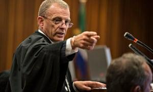 State prosecutor Gerrie Nel gestures during the Oscar Pistorius murder trial.