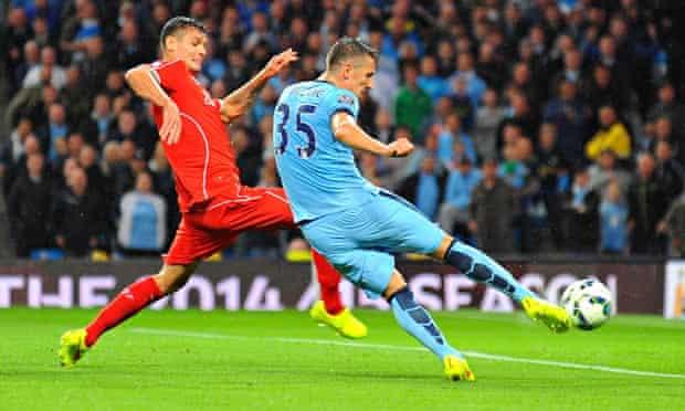 Stevan Jovetic scores in Manchester City v LiverpoolBarclays Premier League