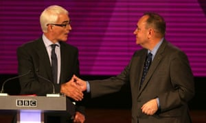 Alistair Darling and Alex Salmond during the second TV debate on the Scottish independence referendum