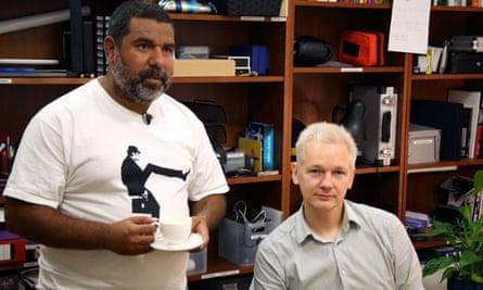 Murrumu Walubara Yidindji (then Jeremy Geia) with Julian Assange